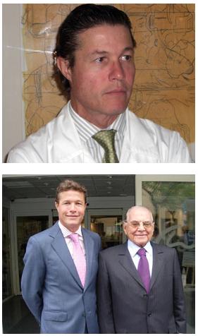 Arriba. Dr Ceballos. Abajo. El Dr. Ceballos en compañía del Dr. Pitanguy, una  eminencia en el mundo de la cirugía estética.